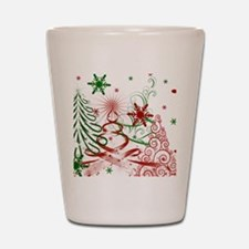 Abstract Green and Red Christmas Trees. Shot Glass