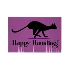 Happy Haunting Black Cat Rectangle Magnet