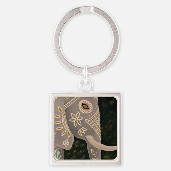 Unique Indian elephants Square Keychain