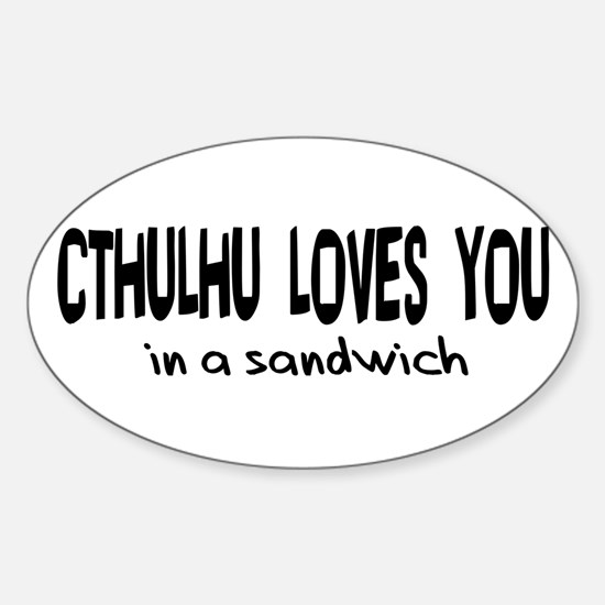 Cthulhu Loves You Oval Decal