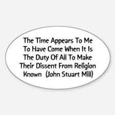John Stuart Mill Religion Quote Oval Decal