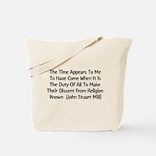John Stuart Mill Religion Quote Tote Bag