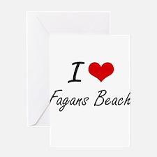 I love Fagans Beach Hawaii artisti Greeting Cards
