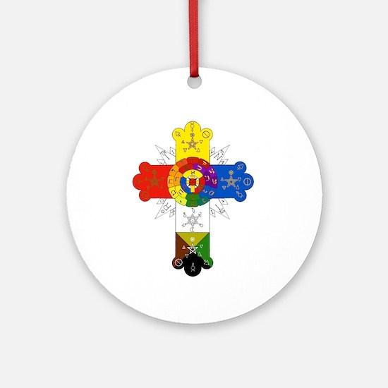 Rose Cross Ornament (Round)