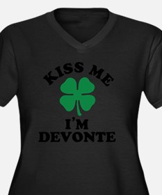 Cute Devonte Women's Plus Size V-Neck Dark T-Shirt