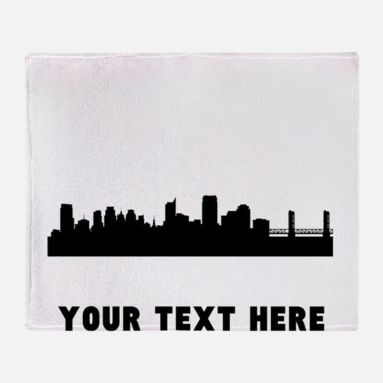 Sacramento Cityscape Skyline (Custom) Throw Blanke