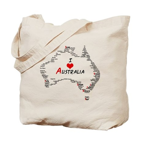 I Love Australia Map with Heart Tote Bag