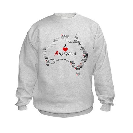 I Love Australia Map with Heart Kids Sweatshirt