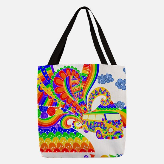 Retro Rainbow Hippie Van Polyester Tote Bag