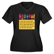 Peaceful Crayons Women's Plus Size V-Neck Dark T-S