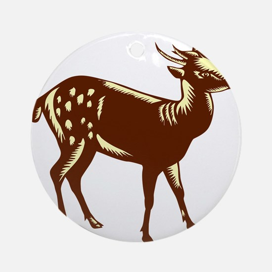 Philippine Spotted Deer Woodcut Round Ornament