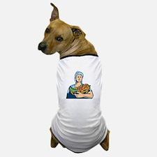 Lady Organic Farmer Produce Harvest Woodcut Dog T-
