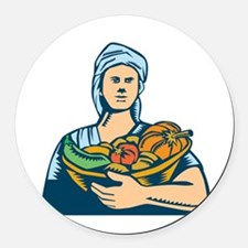 Lady Organic Farmer Produce Harvest Woodcut Round
