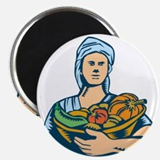 Lady Organic Farmer Produce Harvest Woodcut Magnet