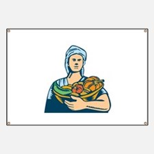 Lady Organic Farmer Produce Harvest Woodcut Banner