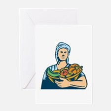 Lady Organic Farmer Produce Harvest Woodcut Greeti