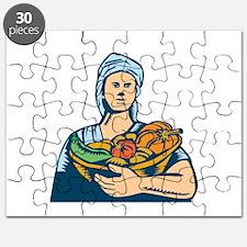 Lady Organic Farmer Produce Harvest Woodcut Puzzle