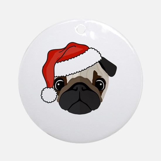 Cute Holiday pug Round Ornament