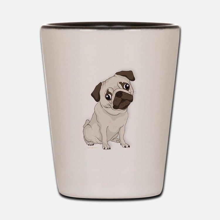 Pug Dog, Cute Little Pug Shot Glass