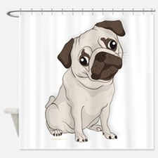 Pug Dog, Cute Little Pug Shower Curtain