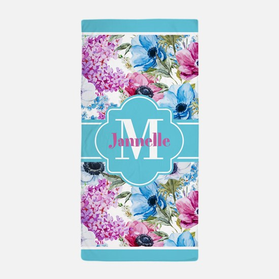 Chic Watercolor Flowers Monogram Beach Towel