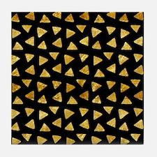 Metallic Gold Look Triangles on Black Tile Coaster