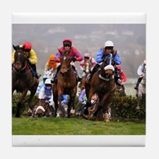 racing horses Tile Coaster