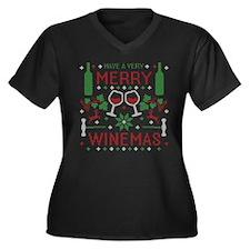 Merry Winemas Wine Ugly Christmas Sweater Plus Siz