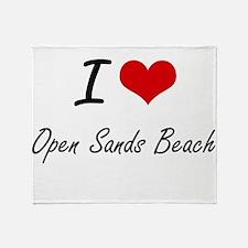 I love Open Sands Beach Florida art Throw Blanket