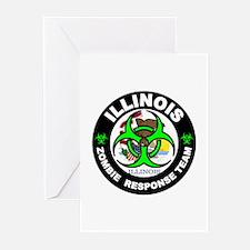 Illinois Zombie Response Tea Green Greeting Cards