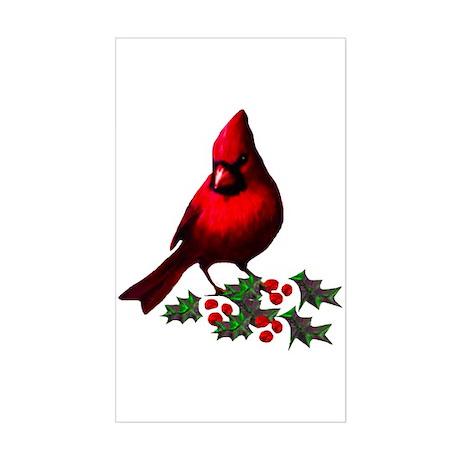 Christmas Cardinal Rectangle Sticker