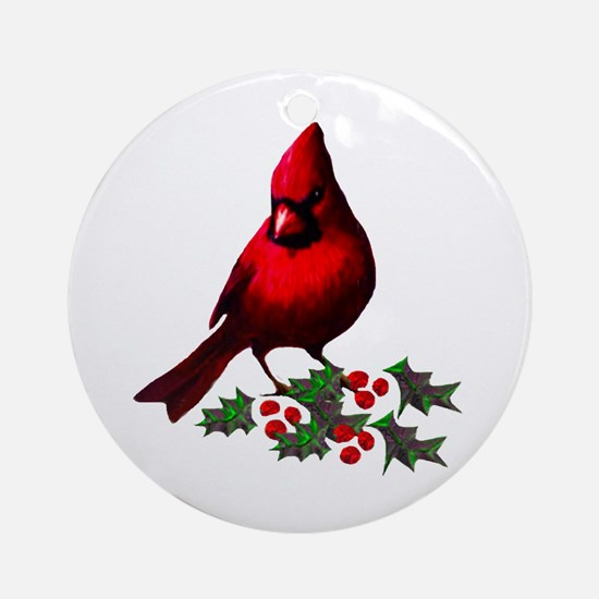 Christmas Cardinal Ornament (Round)