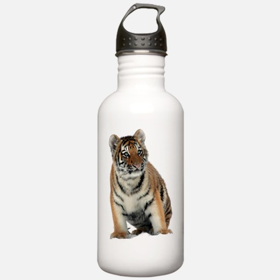 Cute White tiger on a Water Bottle