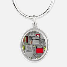 Cute Geek Silver Oval Necklace