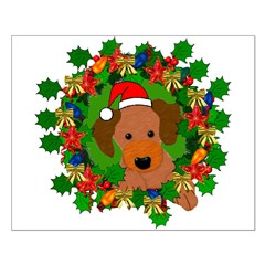 Dog In Christmas Wreath Posters