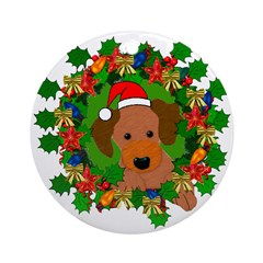 Dog In Christmas Wreath Ornament (Round)