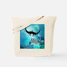 Awesome swimming manta Tote Bag