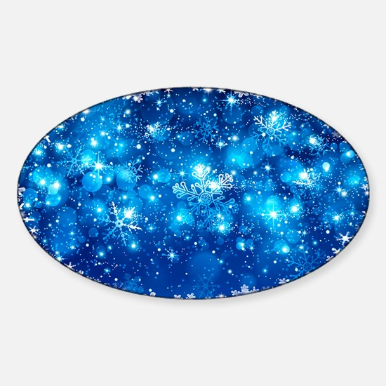 Snowflakes (Blue) Sticker (Oval)