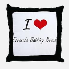 I love Escanaba Bathing Beach Michiga Throw Pillow