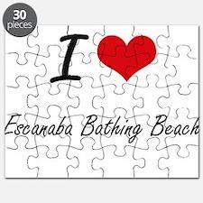 I love Escanaba Bathing Beach Michigan art Puzzle