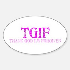 Pink TGIF Oval Decal