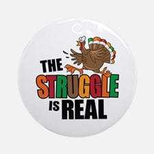 Turkey Struggle Round Ornament