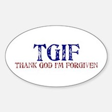 Blue Red TGIF Oval Decal