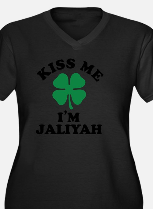 Cute Jaliyah Women's Plus Size V-Neck Dark T-Shirt
