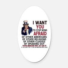 Cute Uncle sam Oval Car Magnet
