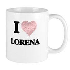 I love Lorena (heart made from words) design Mugs