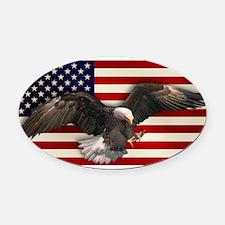 eagle_flag2.png Oval Car Magnet