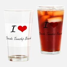 I love Oscoda Township Beach Michig Drinking Glass