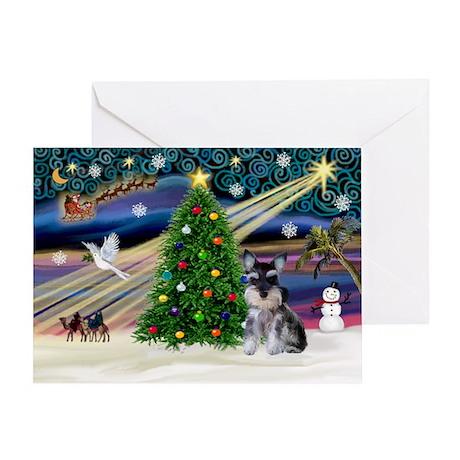 Xmas Magic & Schnauzer Puppy Greeting Card