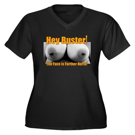 Hey buster Women's Plus Size V-Neck Dark T-Shirt